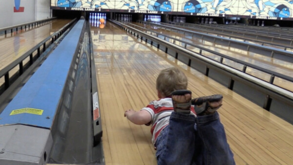 Grandson Beckett goes bowling with his family. So... is it true he rolled a STRIKE with his first ball? Watch to verify!