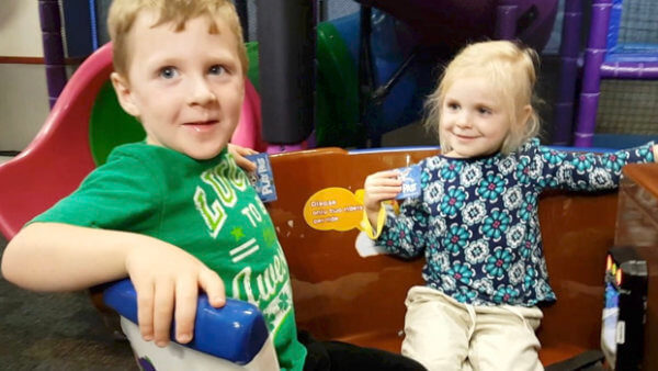 Beckett and Isabel at Chuck E. Cheese